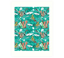 sea pattern with sharks Art Print