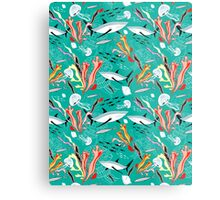 sea pattern with sharks Metal Print