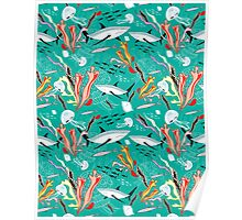 sea pattern with sharks Poster