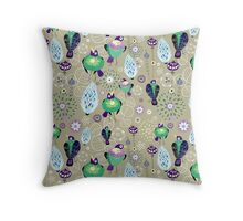 floral pattern with birds Throw Pillow