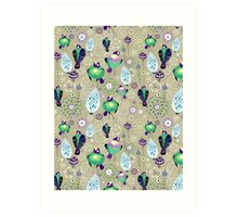 floral pattern with birds Art Print