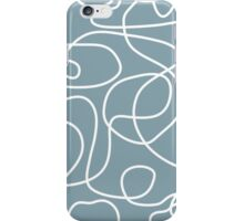Doodle Line Art   White Lines on Dusty Blue Background iPhone Case/Skin