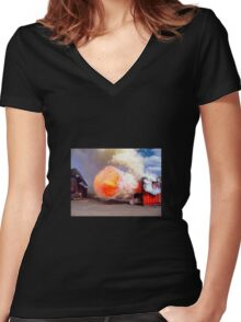 Fire training Women's Fitted V-Neck T-Shirt