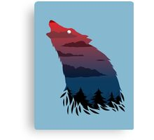 Scary howling wolf Canvas Print