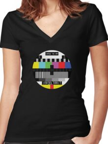 TV Test Card Women's Fitted V-Neck T-Shirt
