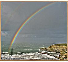 Rainbow over Portreath Beach. Photographic Print