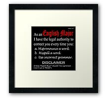 English Major (dark background) Framed Print