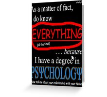 Psychology Degree (Dark Backgrounds) Greeting Card