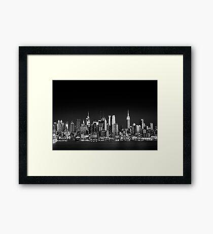 West Side skyline at night, Manhattan New York Framed Print