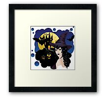Witch and Bats Framed Print