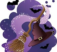 Witch broom and hat by AnnArtshock