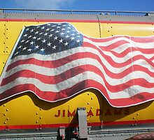 American Flag on Train. . .Union Pacific by Diane Trummer Sullivan