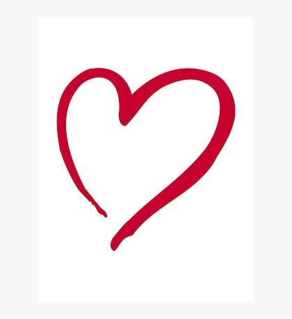 Red outline heart Photographic Print