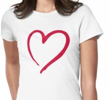 Red outline heart Womens Fitted T-Shirt