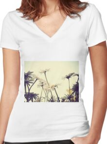 Summer Chamomiles 4 Women's Fitted V-Neck T-Shirt