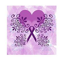 Purple Ribbon, Butterfly 3 by Hopasholic