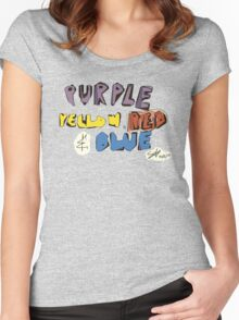 Purple Yellow Red & Blue Women's Fitted Scoop T-Shirt