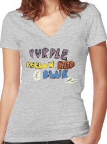 Purple Yellow Red & Blue Women's Fitted V-Neck T-Shirt