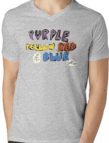 Purple Yellow Red & Blue Mens V-Neck T-Shirt