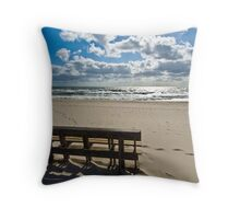 Spray Beach New Jersey - Bench overlooking a sunrise Throw Pillow