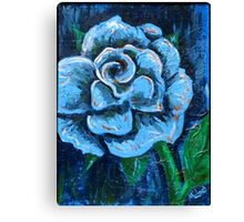 """Blue Rose"" original signed acrylic painting on canvas Canvas Print"