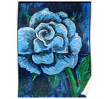 """Blue Rose"" original signed acrylic painting on canvas Poster"