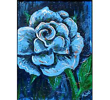 """Blue Rose"" original signed acrylic painting on canvas Photographic Print"