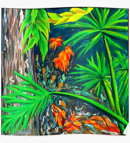 """""""Philodendrons"""" original signed nature painting on canvas Poster"""