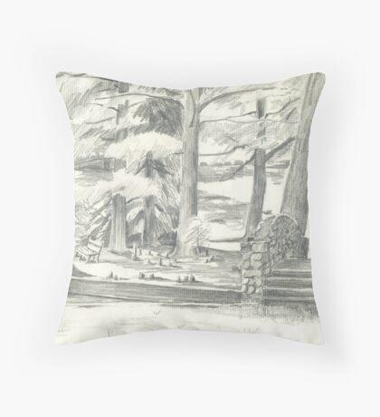 Footbridge in Pencil Throw Pillow
