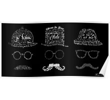 3 Typographic French men with mustaches Poster