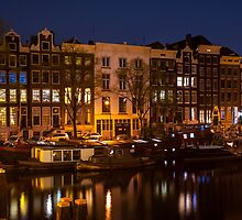 Night Lights on the Amsterdam Canals by JennyRainbow