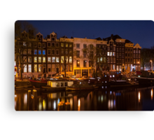 Night Lights on the Amsterdam Canals Canvas Print
