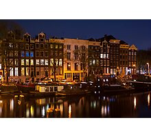 Night Lights on the Amsterdam Canals Photographic Print