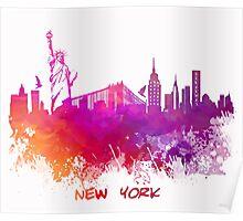 Skyline New York City pink red Poster