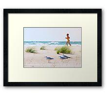 Running on the beach Framed Print