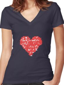 Pixel Love Women's Fitted V-Neck T-Shirt