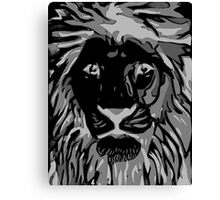 Lovely Lion Stencil (Greyscale Reverse) Canvas Print