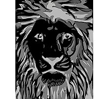 Lovely Lion Stencil (Greyscale Reverse) Photographic Print