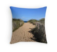 Chestnut Fence To The Beach Throw Pillow