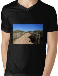 Chestnut Fence To The Beach Mens V-Neck T-Shirt