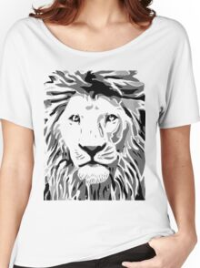 Lovely Lion Stencil (Black) Women's Relaxed Fit T-Shirt