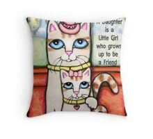 Cat Mom and Daughter Throw Pillow