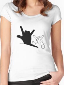 Rabbit Love Hand Shadow Women's Fitted Scoop T-Shirt