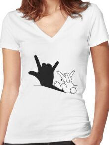 Rabbit Love Hand Shadow Women's Fitted V-Neck T-Shirt