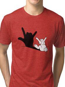 Rabbit Love Hand Shadow Tri-blend T-Shirt