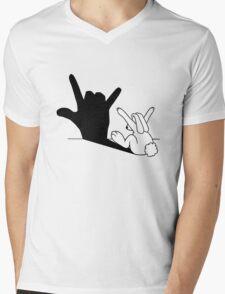 Rabbit Love Hand Shadow Mens V-Neck T-Shirt
