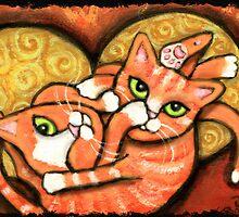 Orange Cats Wrestling by Jamie Wogan Edwards