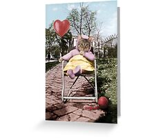 Pretty little Kitty with a heart balloon Greeting Card