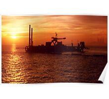 Dredger Sunset, Ramsgate Kent Poster