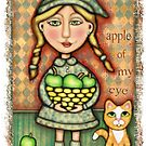Apple Girl With Tabby Cat by Jamiecreates1
